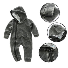 Ash Gray Hooded Jumpsuit