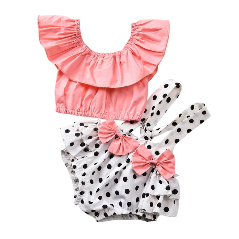 Ruffle Pink Polka Dot Set