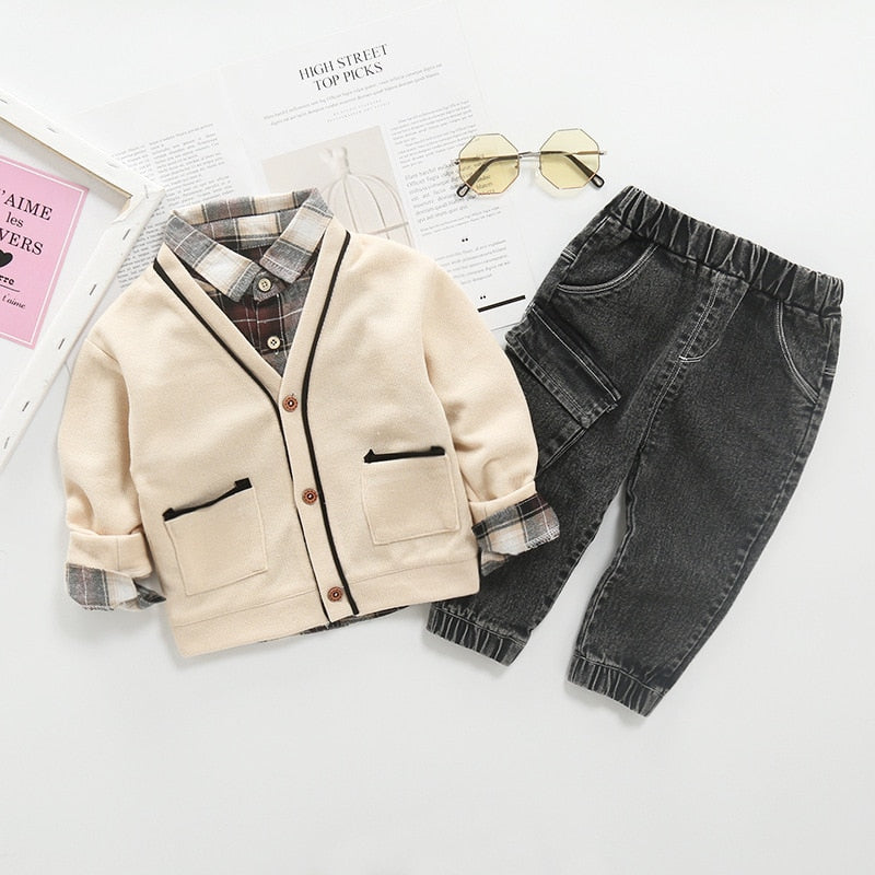 Beige Cardigan Plaid Set