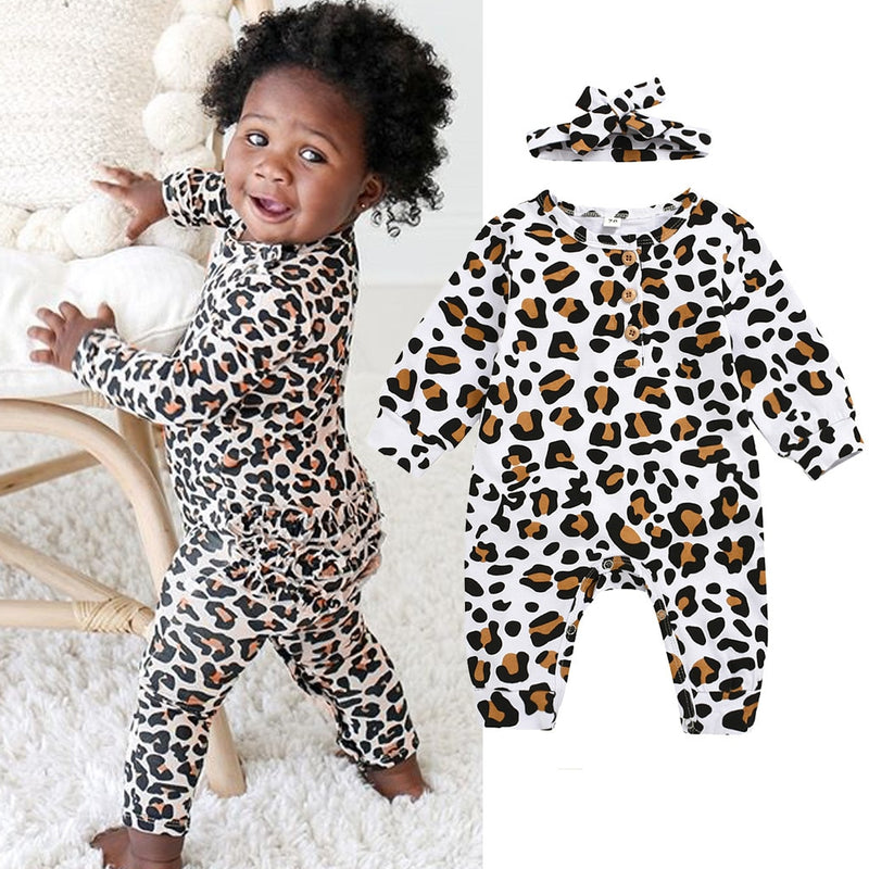 Leopard Jumpsuit & Headband Set