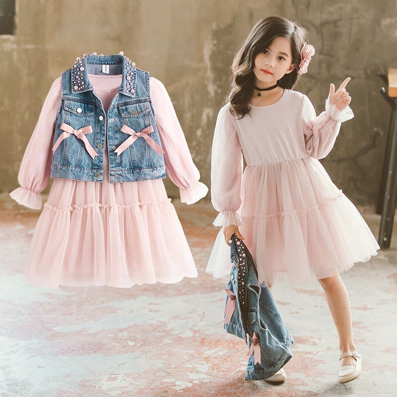 Denim Vest & Pink Dress Set
