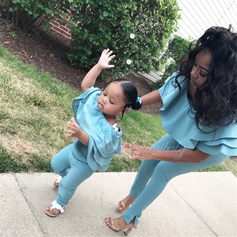 Mommy and Me Ruffle Casual Tops