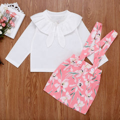 Floral Suspender Skirt Set