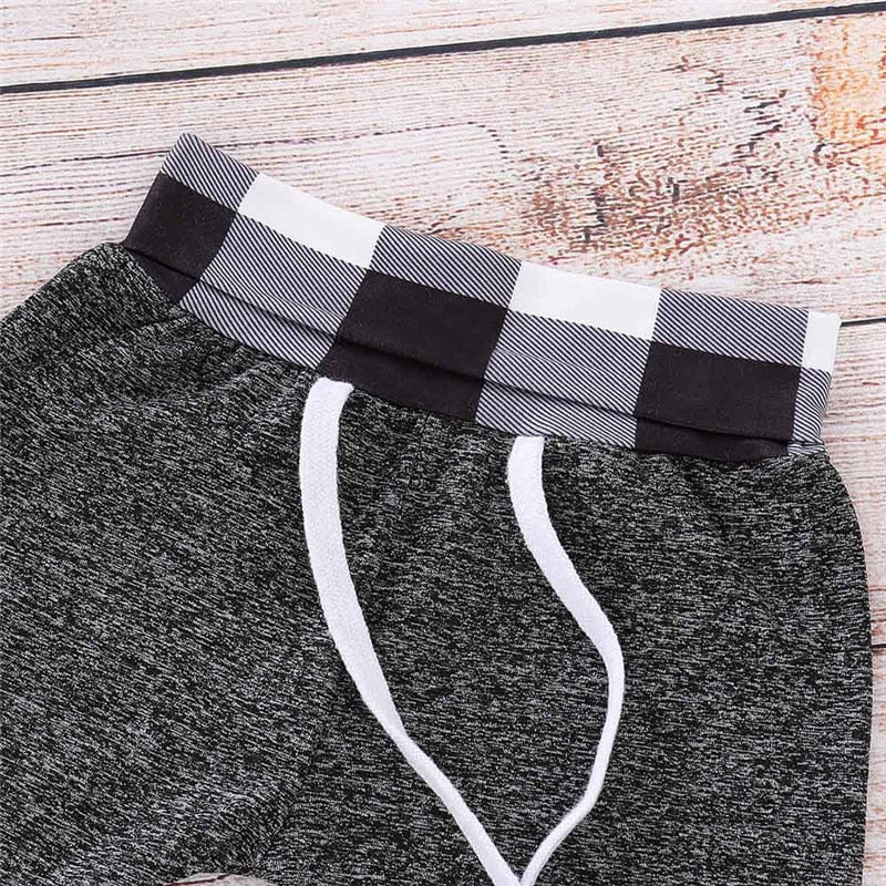 Black Checkered Gray Jogger Set