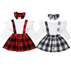 Checkered Suspender Skirt Set