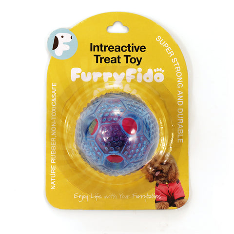 FURRY FIDO INTERACTIVE TREAT DISPENSING TRANSPARENT DOG CHEW TOY