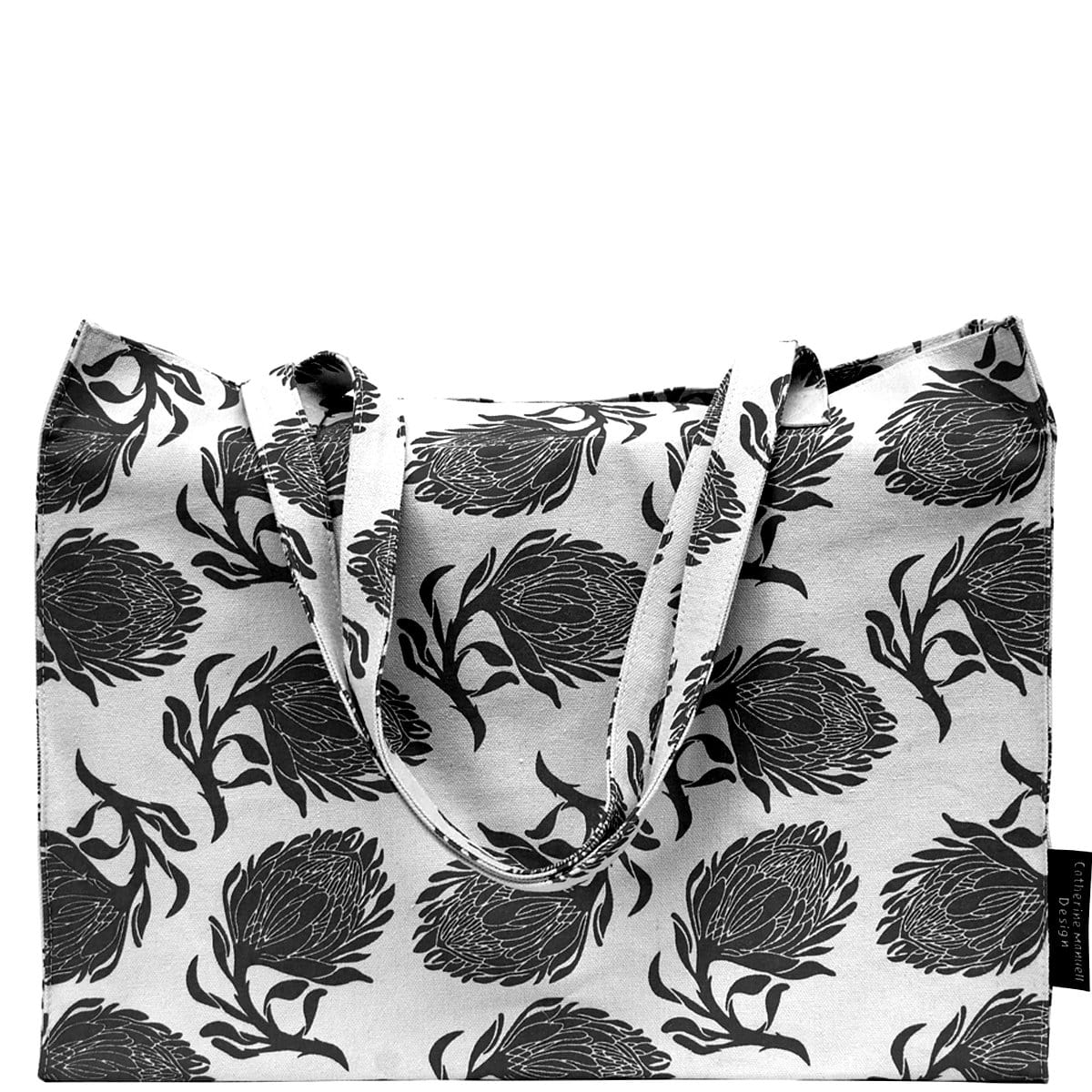Beach Bag/Eco Shopper Tote - Black Protea