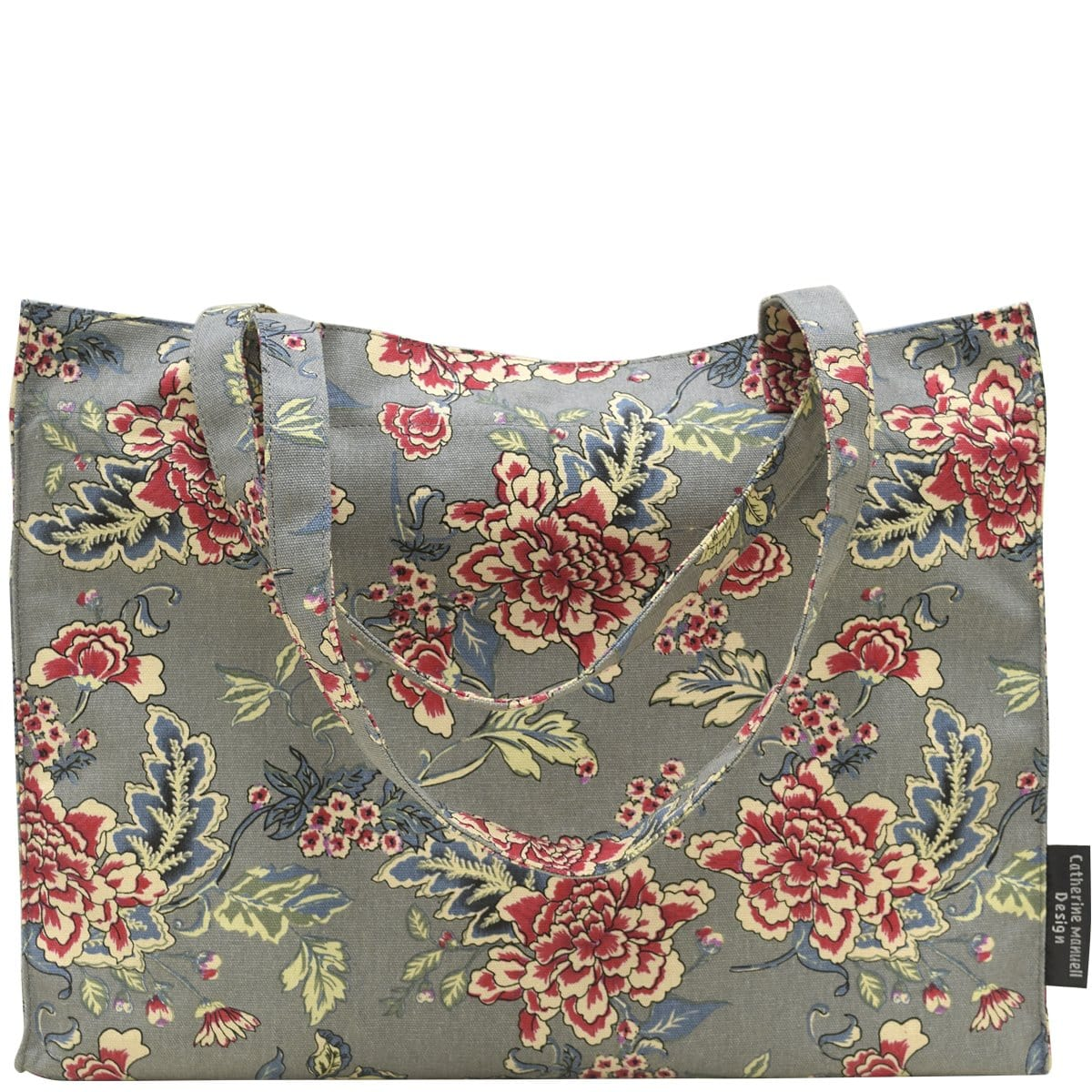 Beach Bag/Eco Shopper Tote - Grey Red Roses