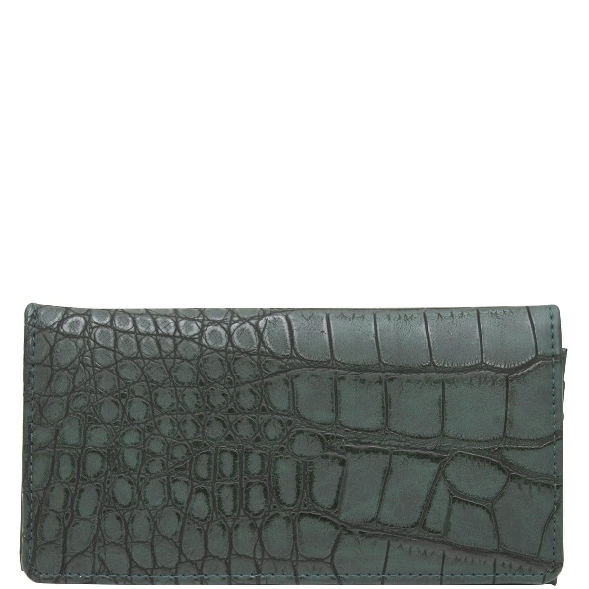 Wider Window Wallet - Dark Green Croc