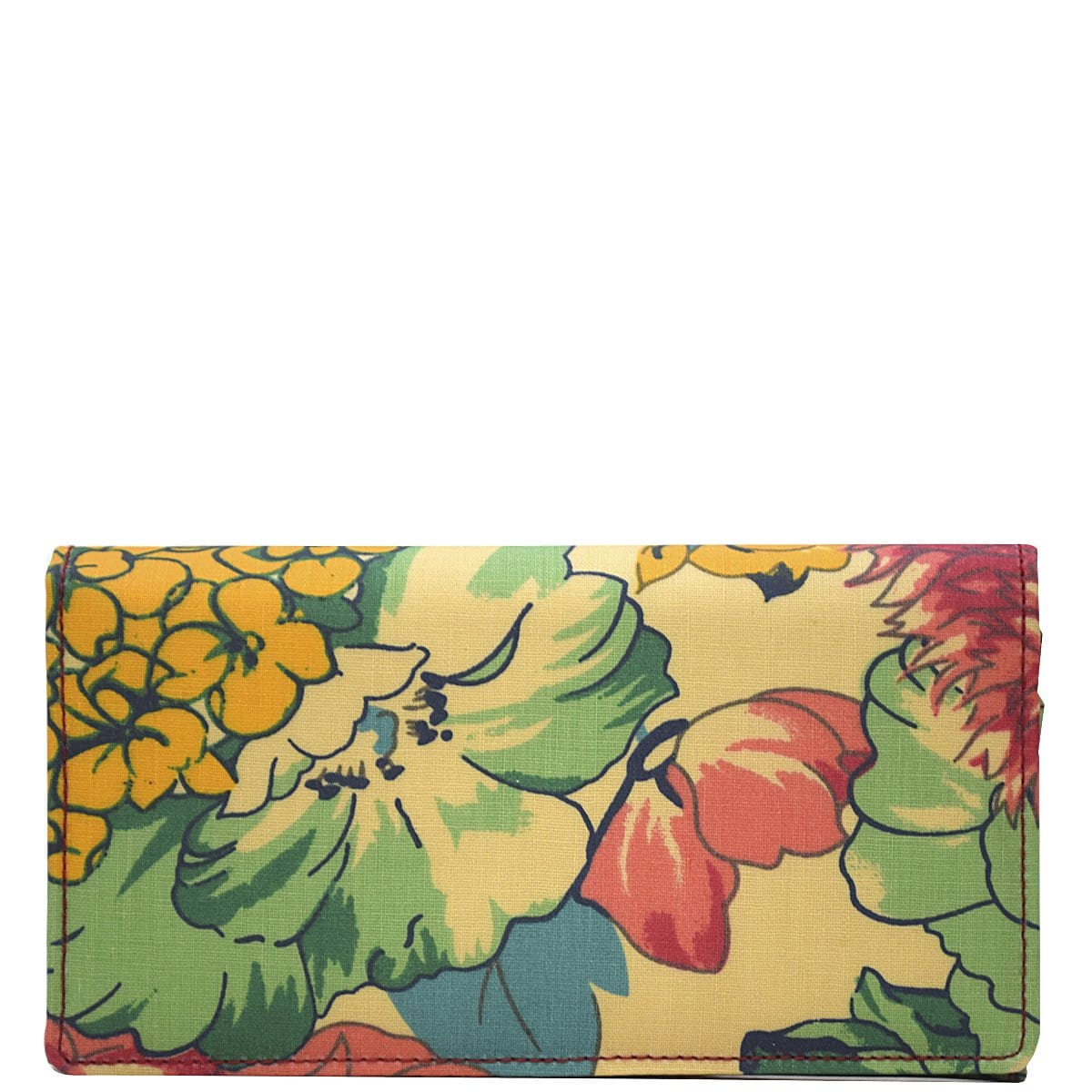 Wider Window Wallet - Green Yellow Flowers - Last One!