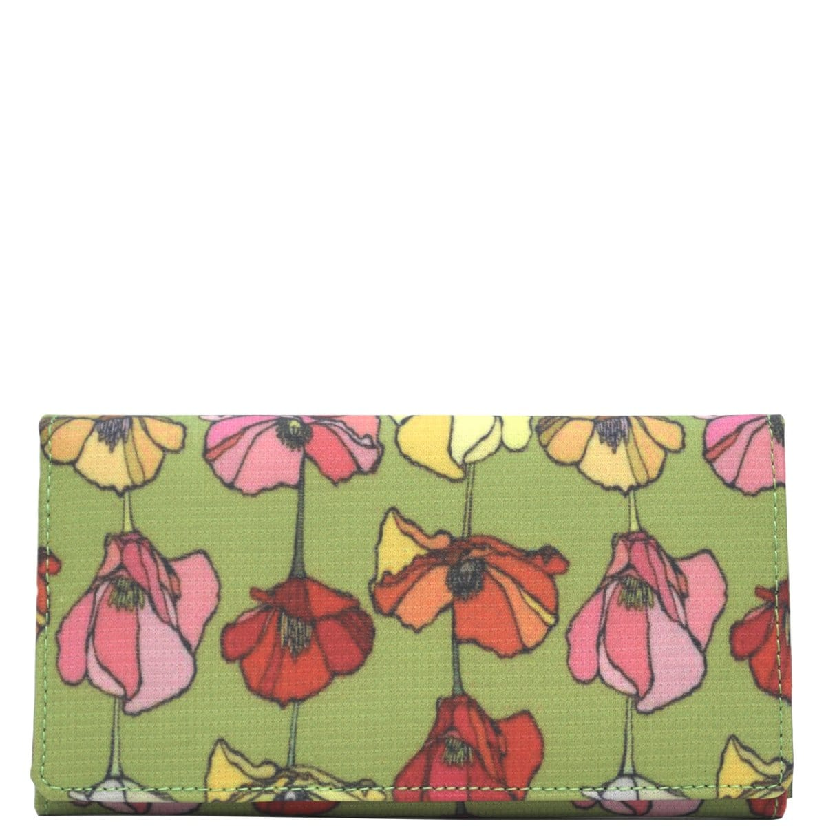 Wider Window Wallet - Green Backed Poppies