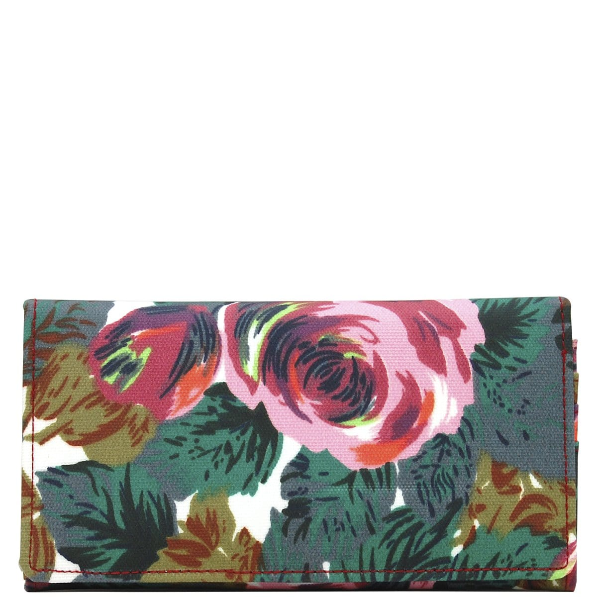 Wider Window Wallet - Pink Brown Flowers