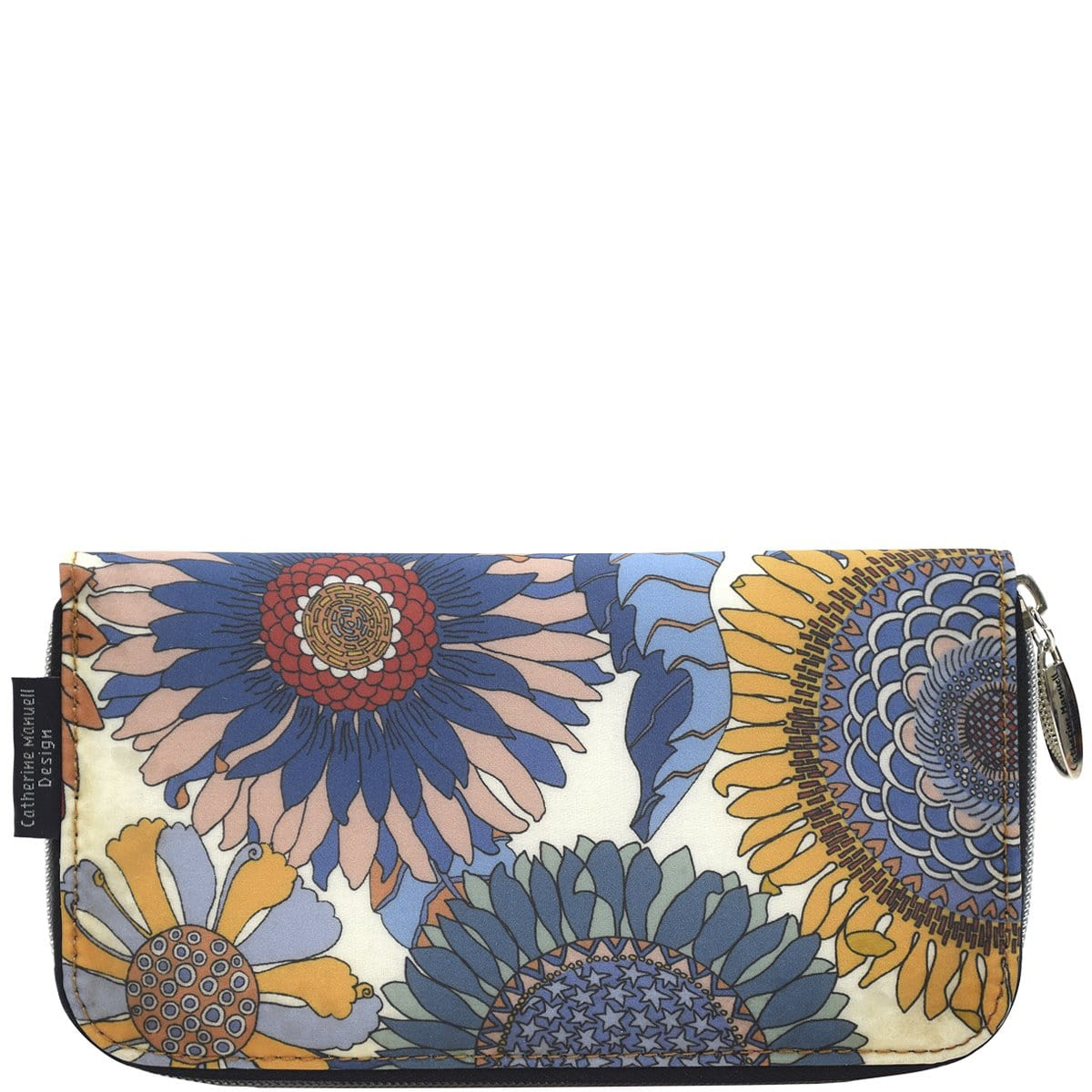 Curved Zip Section Wallet - Liberty Denim Sunflower