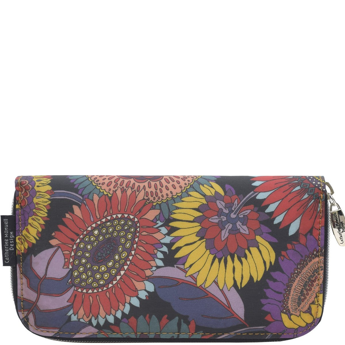 Curved Zip Section Wallet - Liberty Purple Sunflower