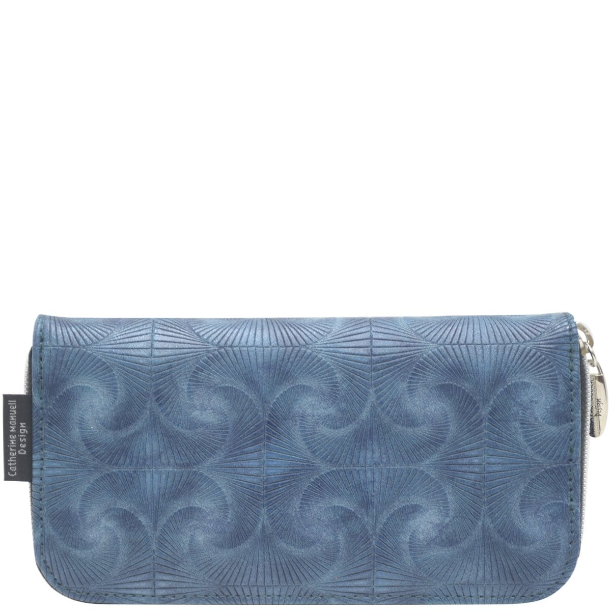 Curved Zip Section Wallet - Navy Fan Print - Last One!