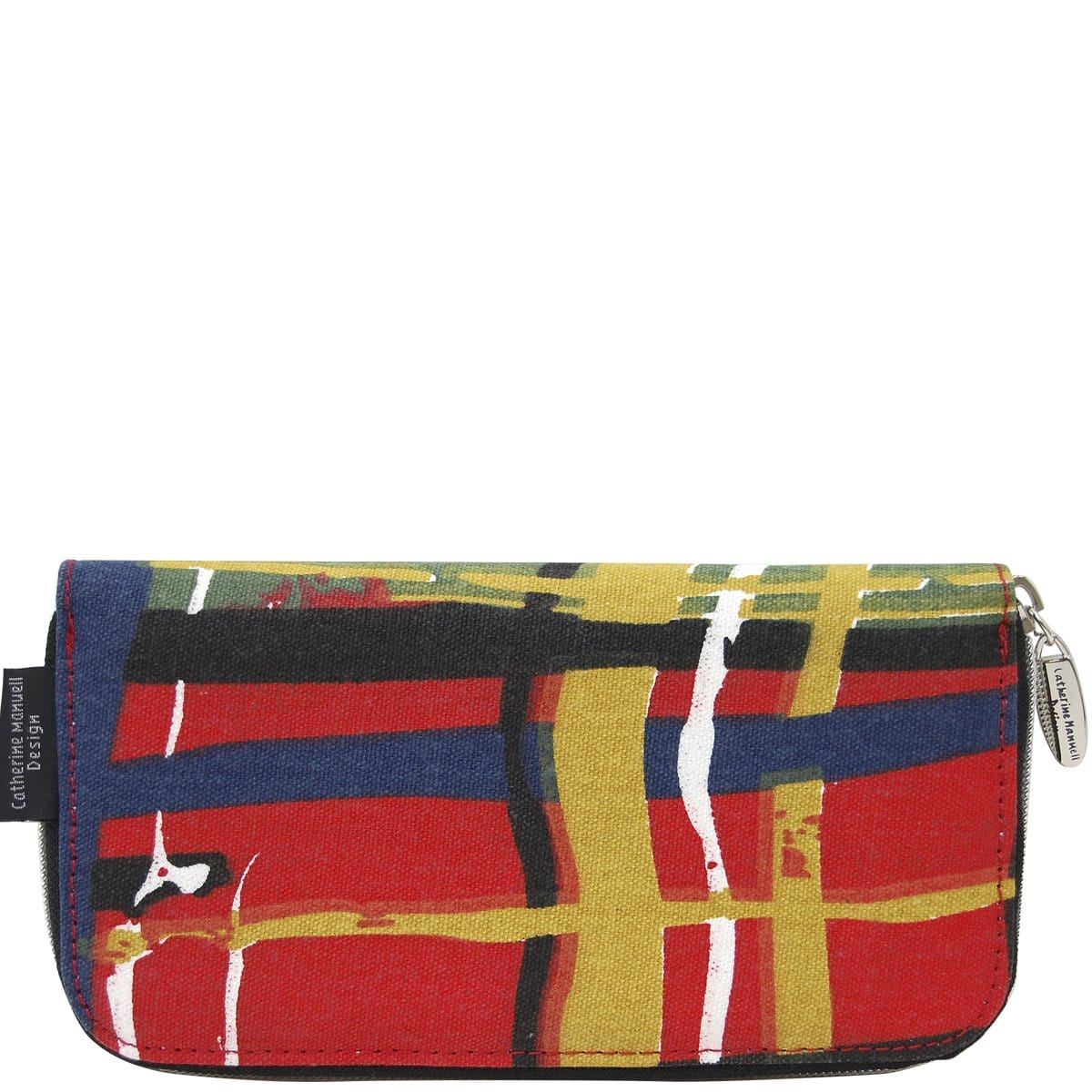 Curved Zip Section Wallet - Red Abstract