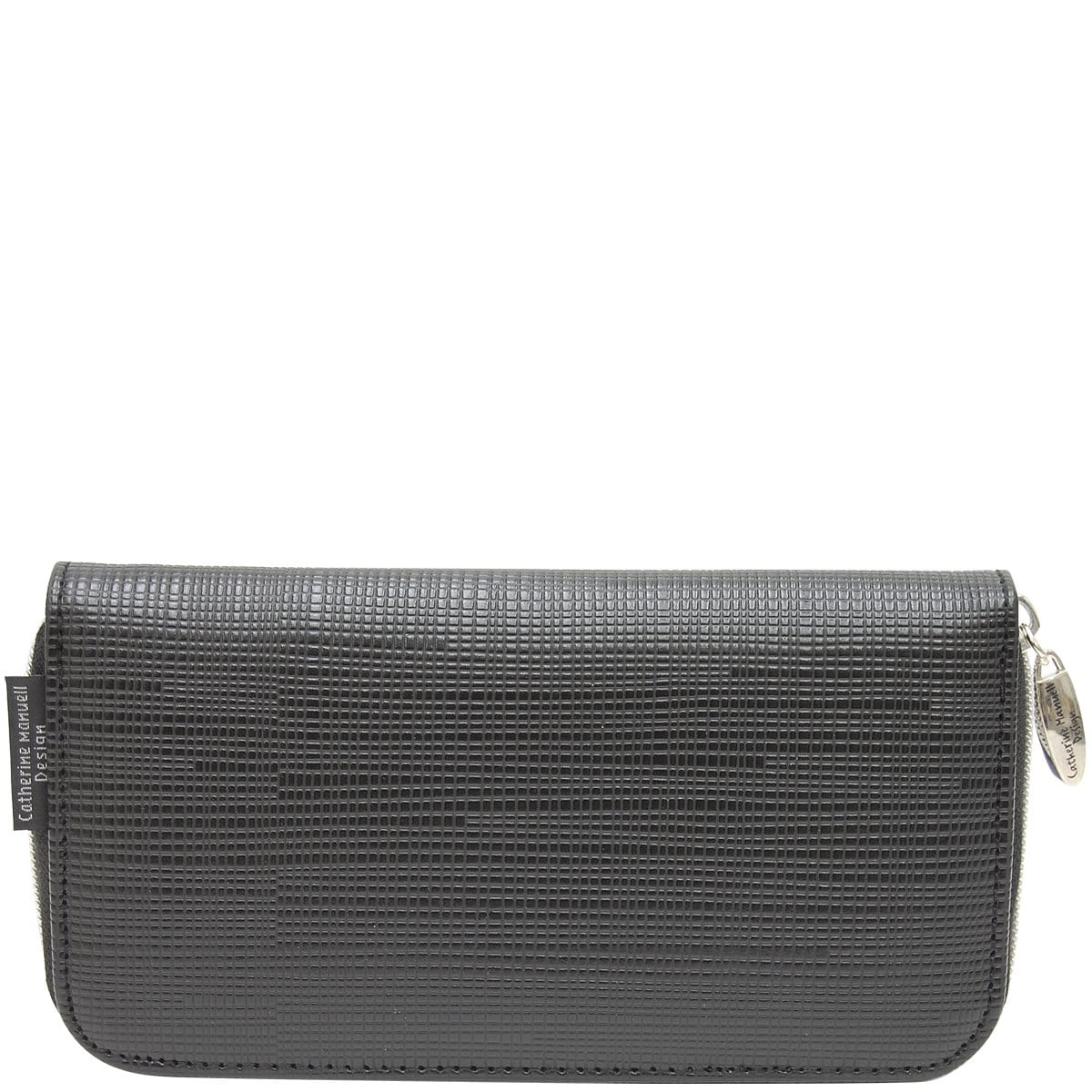Curved Zip Section Wallet - Black Criss Cross
