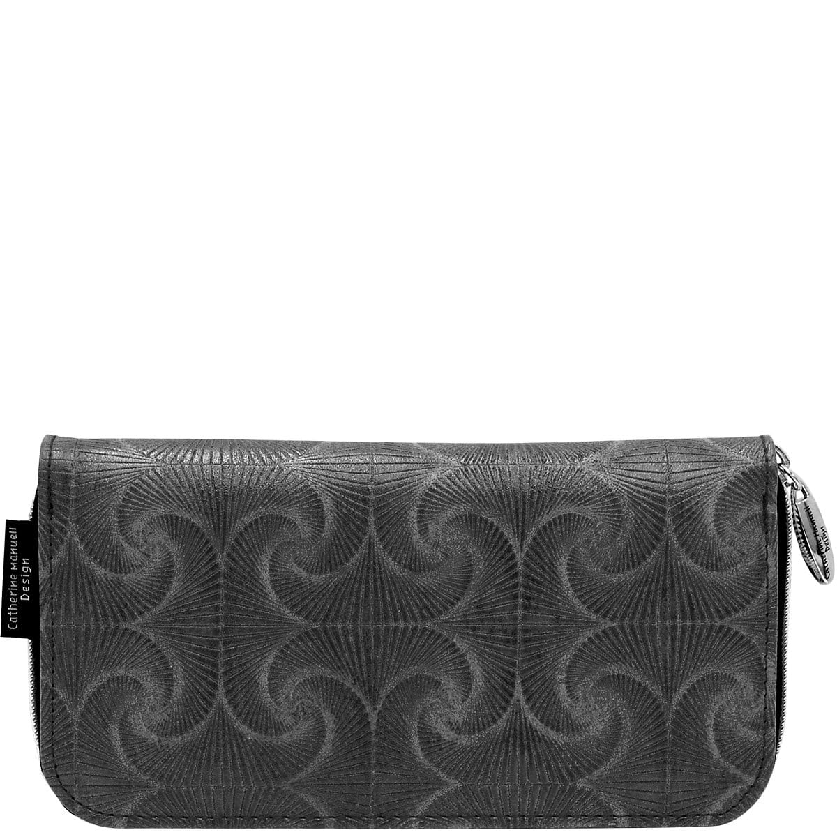 Curved Zip Section Wallet - Charcoal Fan Print