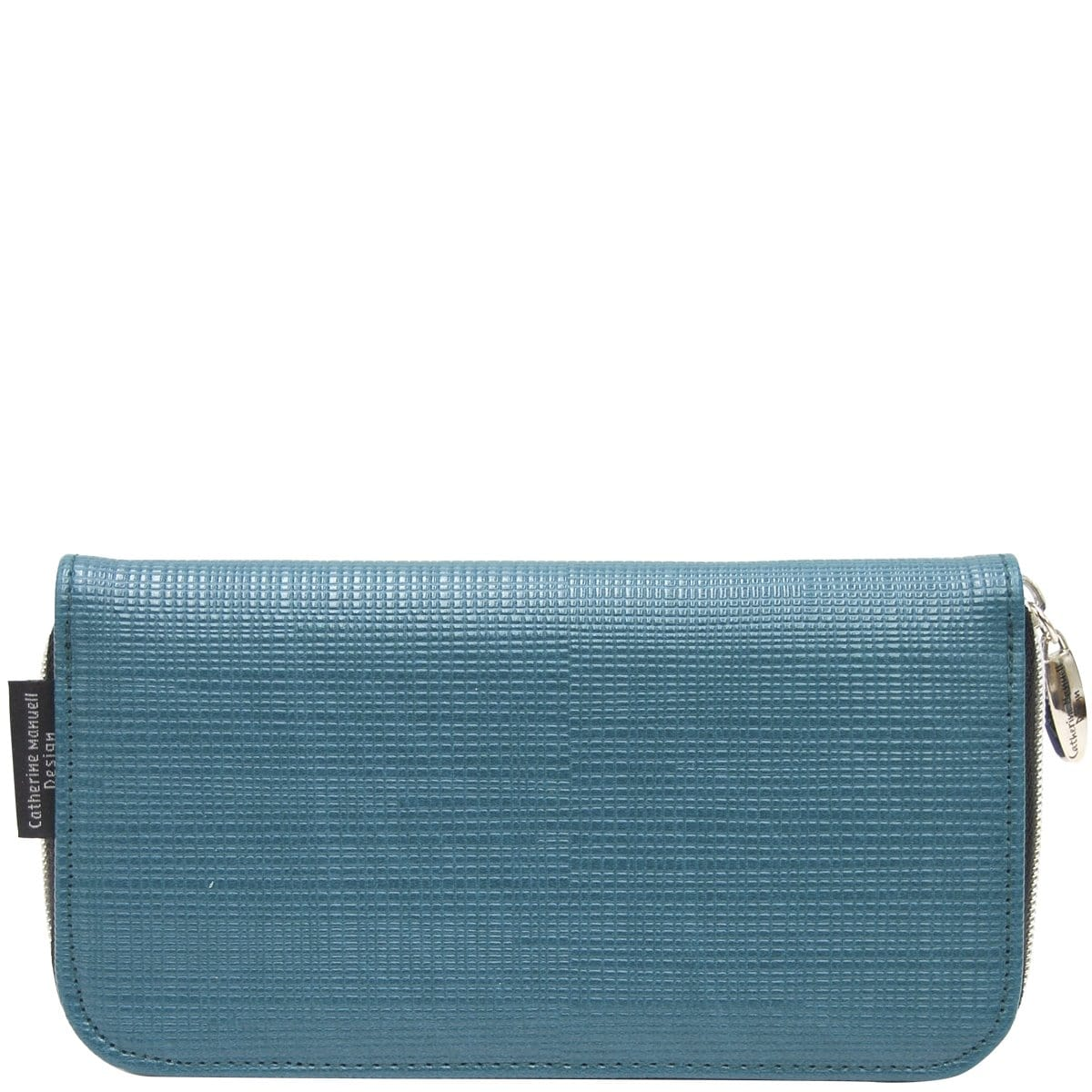 Curved Zip Section Wallet - Teal Criss Cross