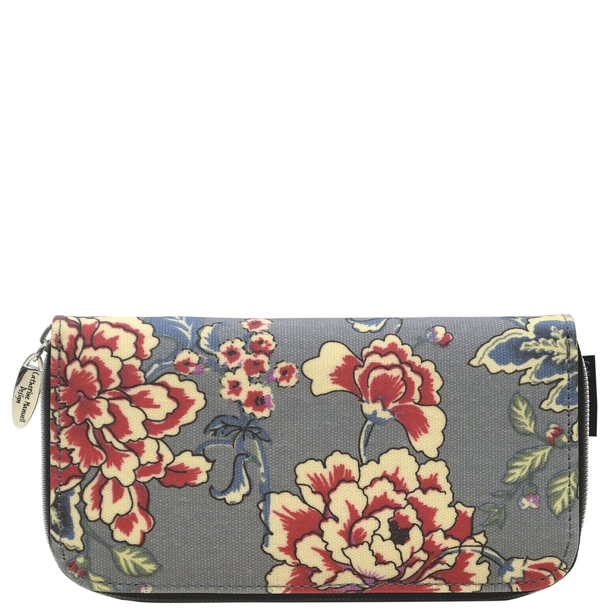 Curved Zip Section Wallet - Grey Red Rose