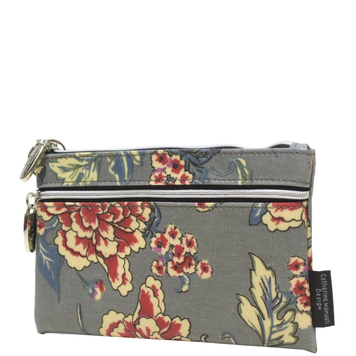 Double Coin Purse - Grey Red Rose
