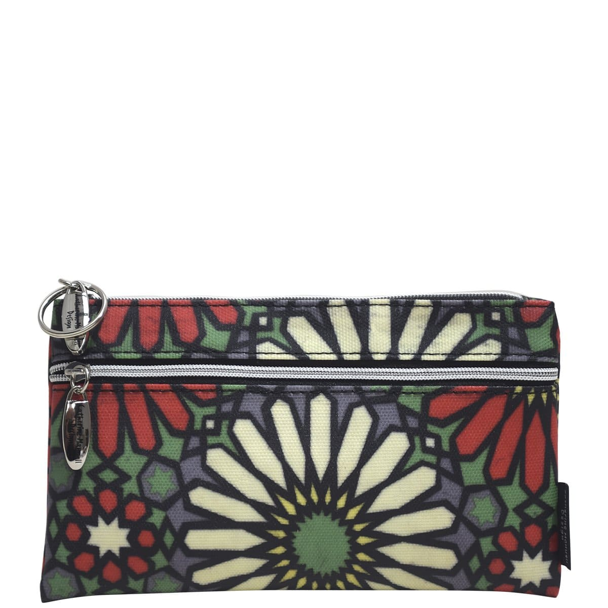 Double Coin Purse - Red Green Crystal Flower