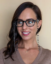 Load image into Gallery viewer, black and silver crystal eyeglasses chain
