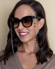 Load image into Gallery viewer, black and gold crystal sunglasses chain