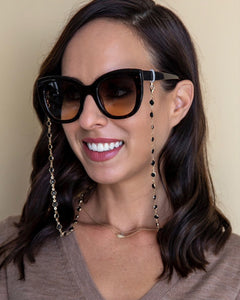black and gold crystal sunglasses chain