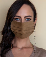 Load image into Gallery viewer, black and gold crystal face mask necklace with tan face mask