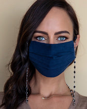 Load image into Gallery viewer, black and silver crystal face mask necklace with navy face mask