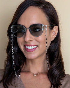 black and silver crystal sunglasses chain