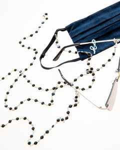 black and silver crystal eyeglasses chain