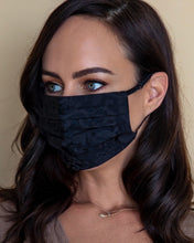 Load image into Gallery viewer, black damask fashion face mask with adjustable straps