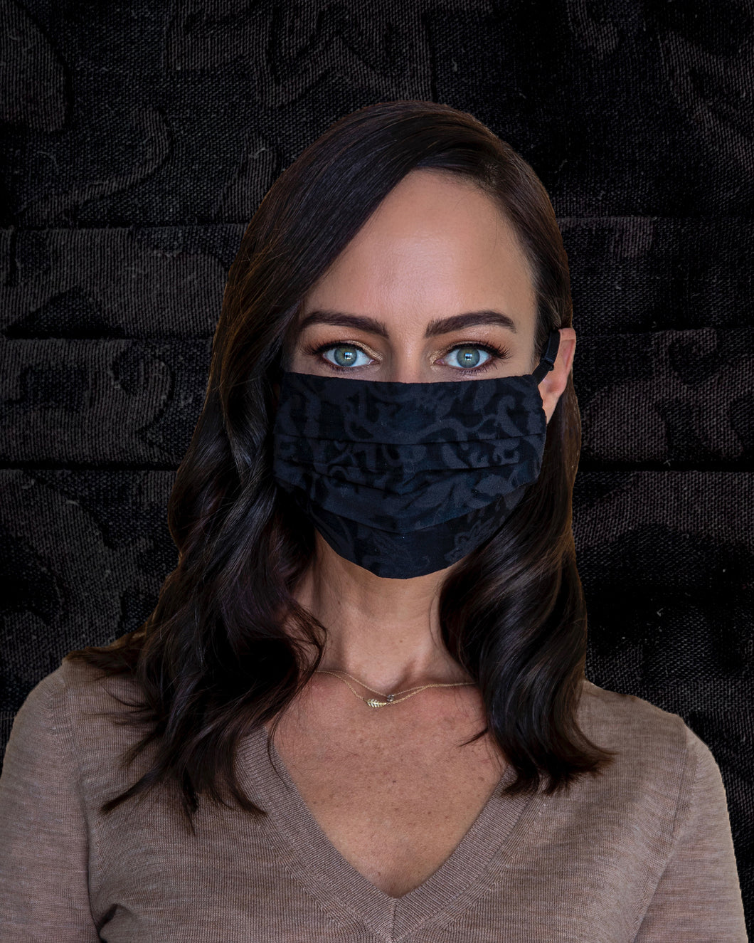 black damask fashion face mask with adjustable straps