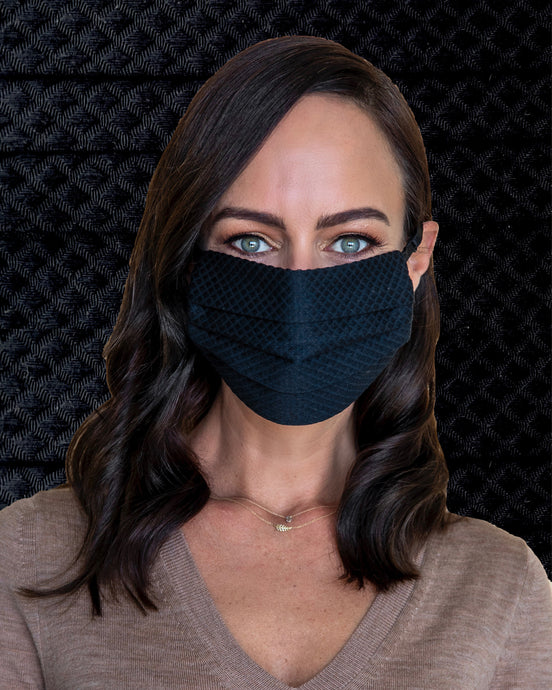 black quilted fashion face mask