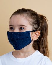 Load image into Gallery viewer, Kids Navy Dot Face Mask