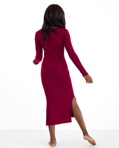 Long Sleeve Dress - Merlot