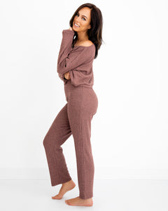 Cropped Straight Leg Pant - Rosewood