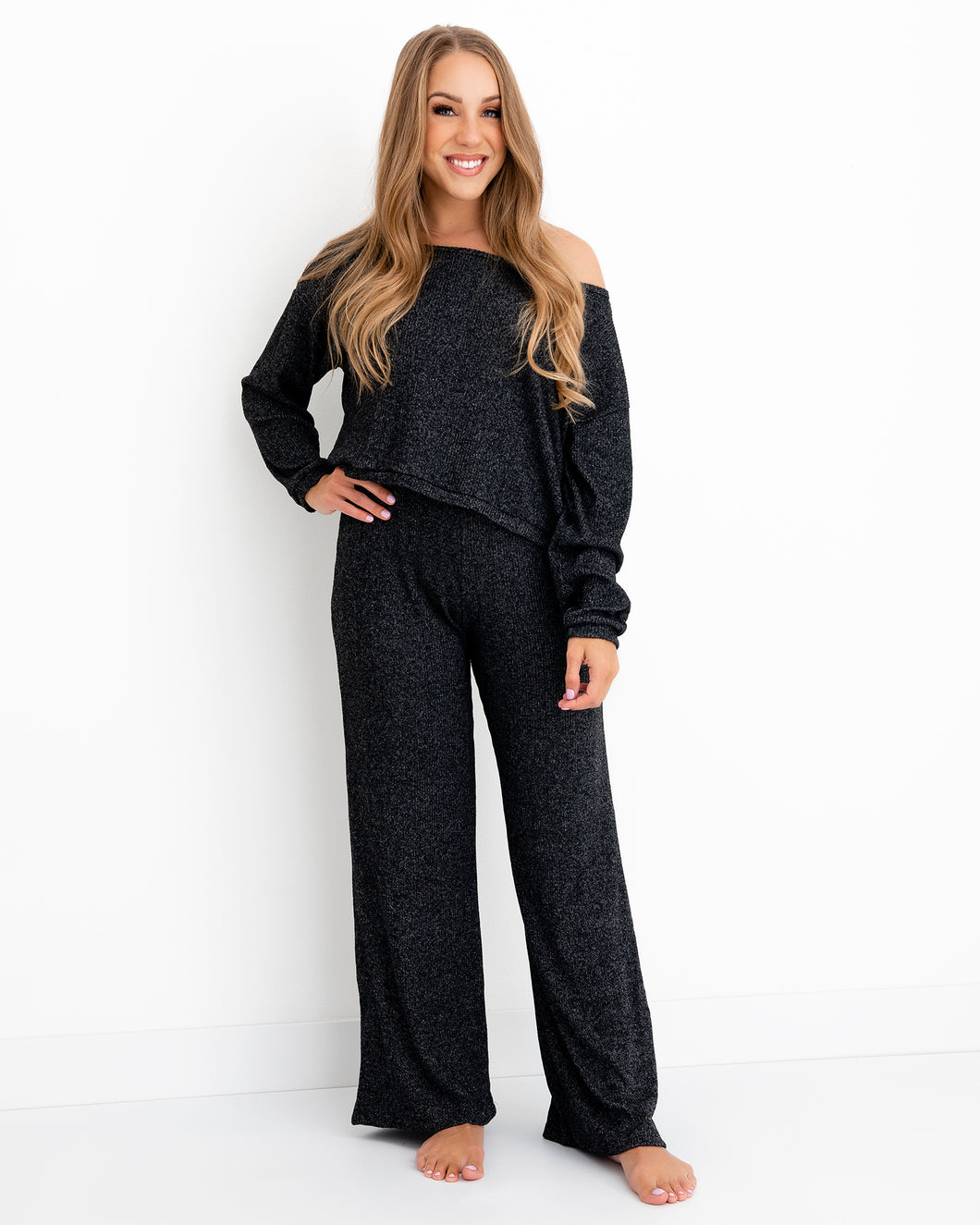 Wide Leg Pant - Marled Black