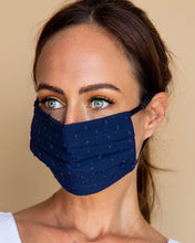 Load image into Gallery viewer, Navy Dot Face Mask