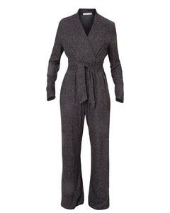 ribbed knit loungewear jumpsuit with tie
