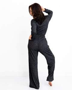 ribbed knit loungewear jumpsuit