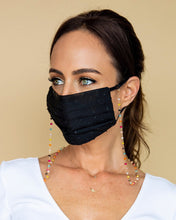 Load image into Gallery viewer, black polka dot face mask with colored mask chain