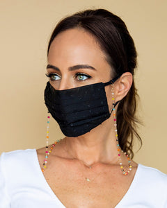 black polka dot face mask with colored mask chain