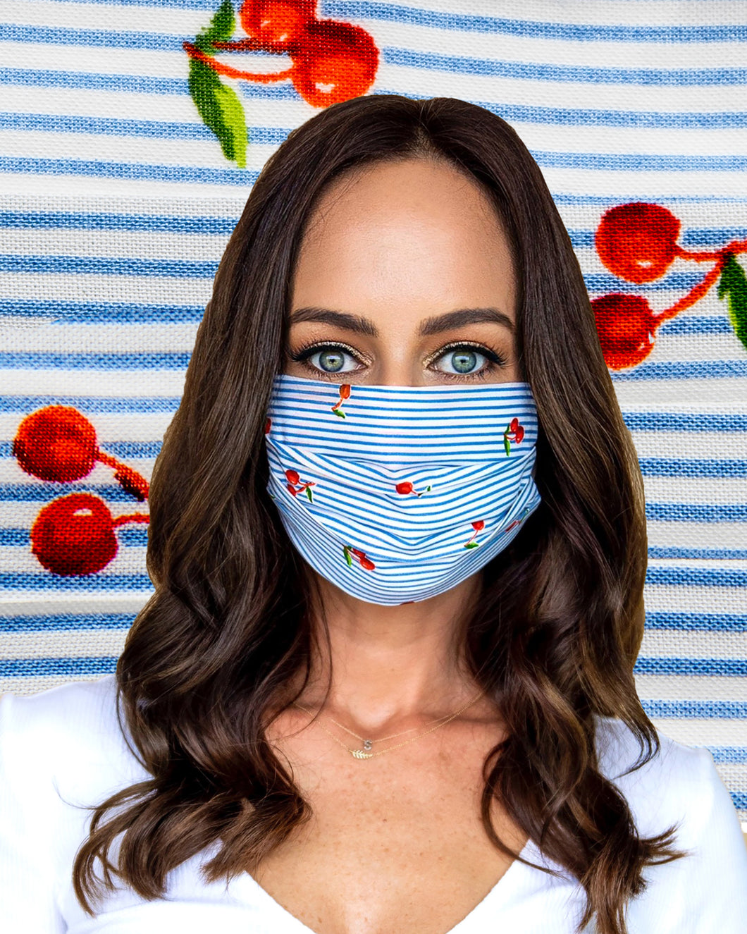 Cherry Stripe Face Mask