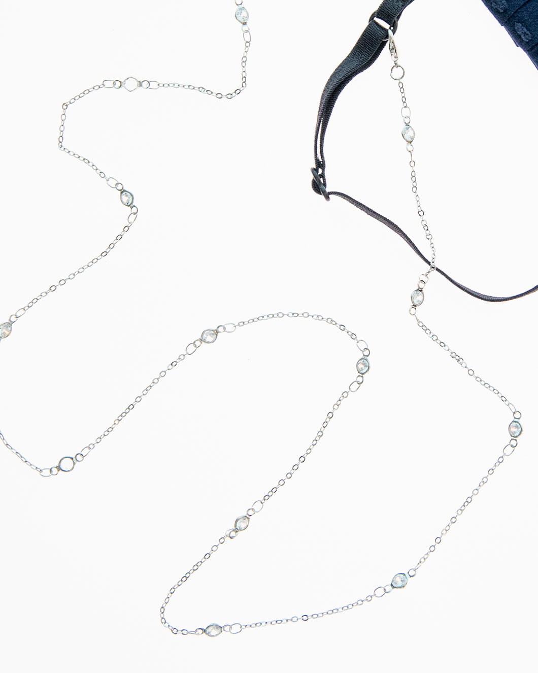 Crystal Sprinkle Mask Necklace in Silver