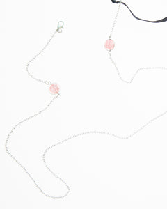 Rose Crystal Mask Necklace in Silver