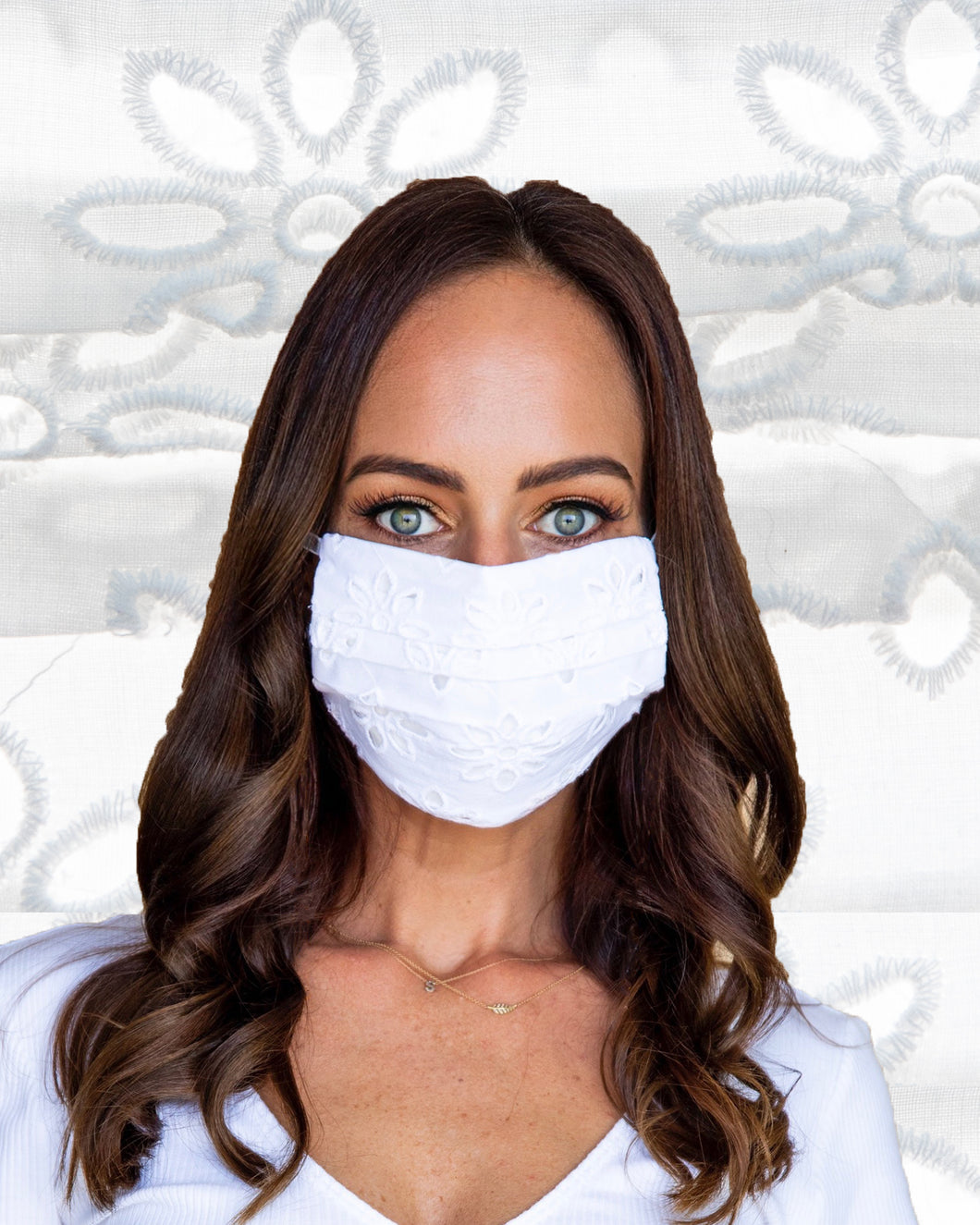 White Eyelet Face Mask