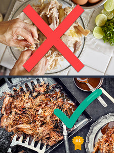 BBQ Meat Claws Best For Pulled Pork - Sturdy Wood Handle and Stainless Steel Barbeque Shredder Tool